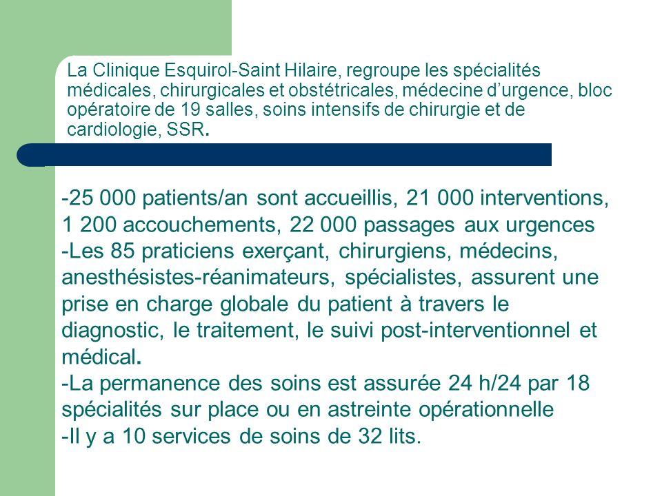 -Il y a 10 services de soins de 32 lits.