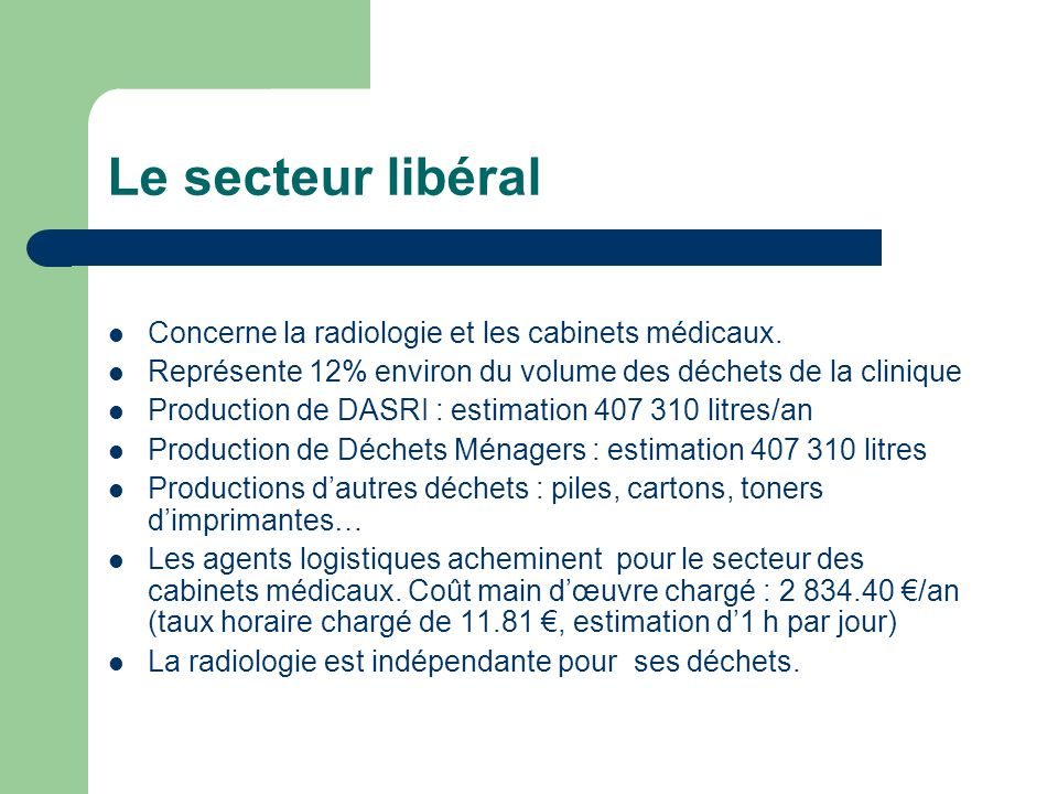 Le secteur libéral Concerne la radiologie et les cabinets médicaux.