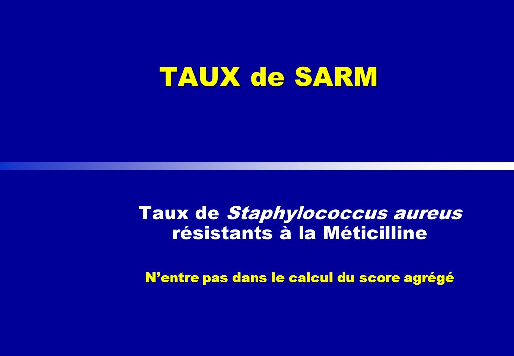 TAUX de SARM Taux de Staphylococcus aureus résistants à la Méticilline