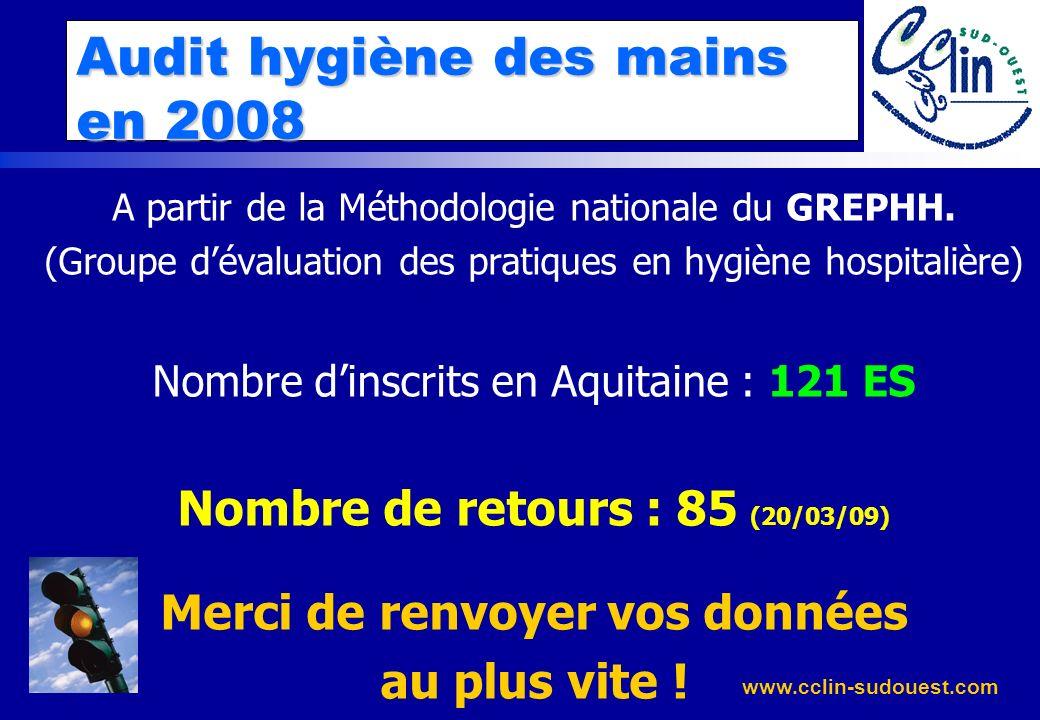 Audit hygiène des mains en 2008