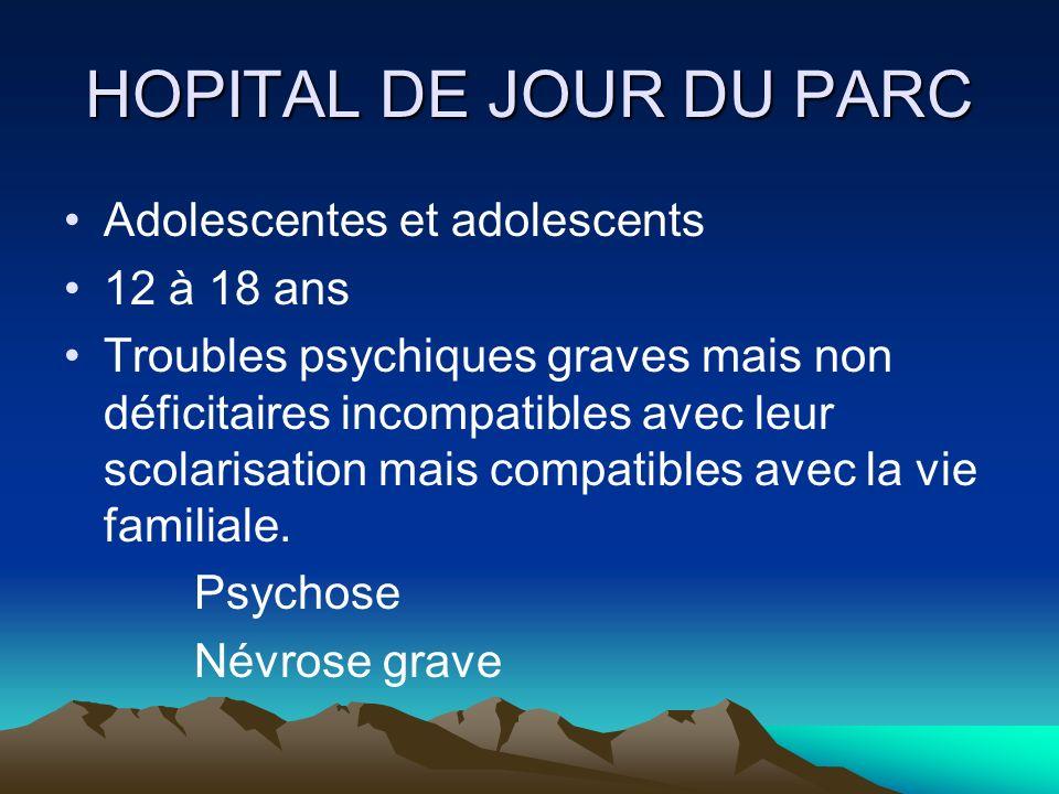 HOPITAL DE JOUR DU PARC Adolescentes et adolescents 12 à 18 ans