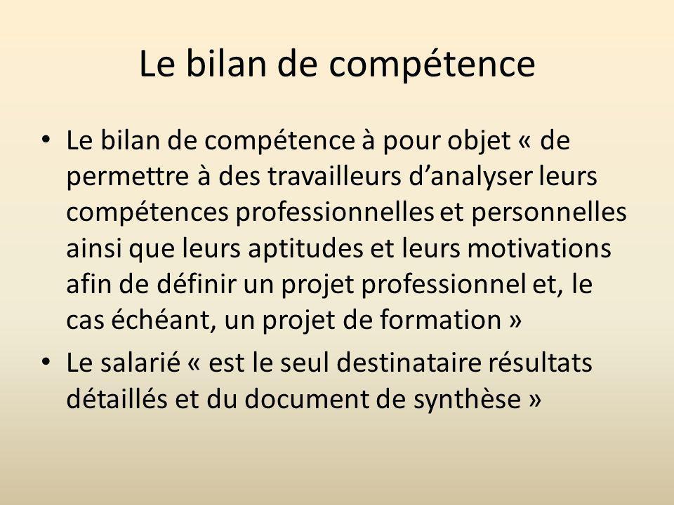 Le bilan de compétence