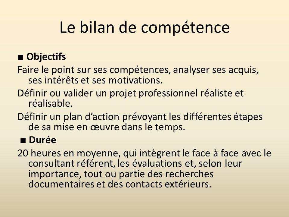 Le bilan de compétence ■ Objectifs