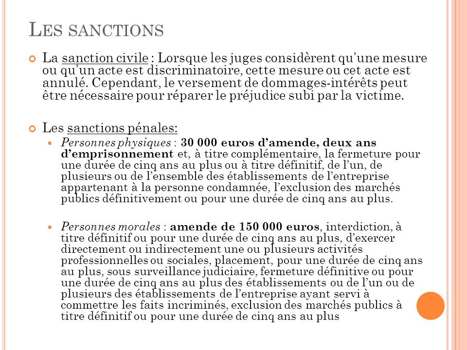 Les sanctions