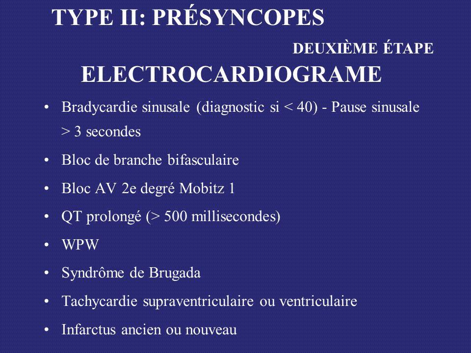 TYPE II: PRÉSYNCOPES DEUXIÈME ÉTAPE ELECTROCARDIOGRAME