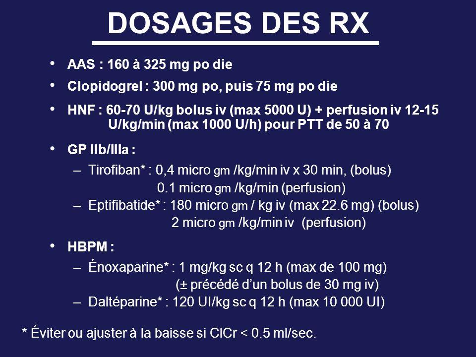 DOSAGES DES RX AAS : 160 à 325 mg po die