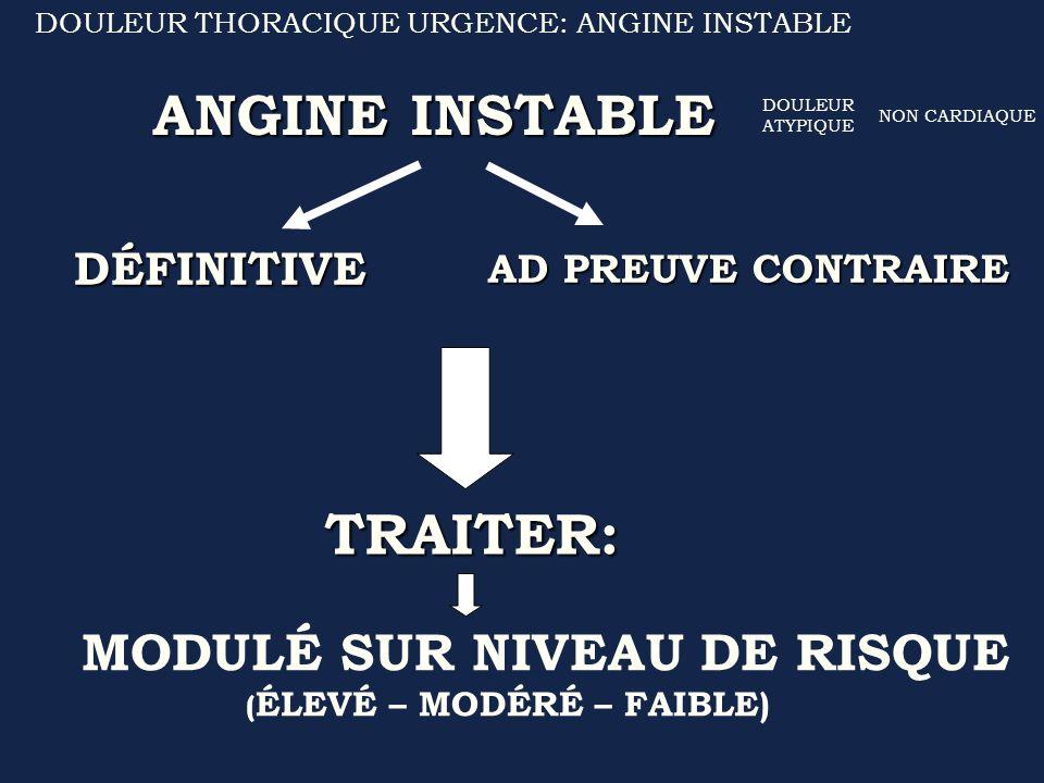 ANGINE INSTABLE TRAITER: DÉFINITIVE AD PREUVE CONTRAIRE