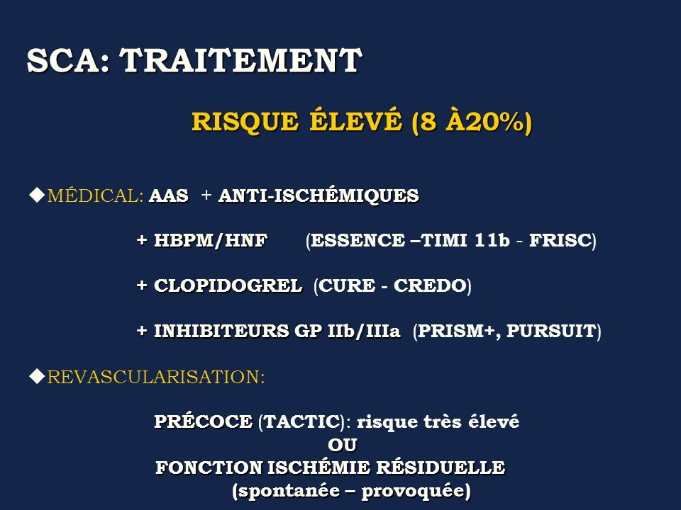 SCA: TRAITEMENT RISQUE ÉLEVÉ (8 À20%) MÉDICAL: AAS + ANTI-ISCHÉMIQUES