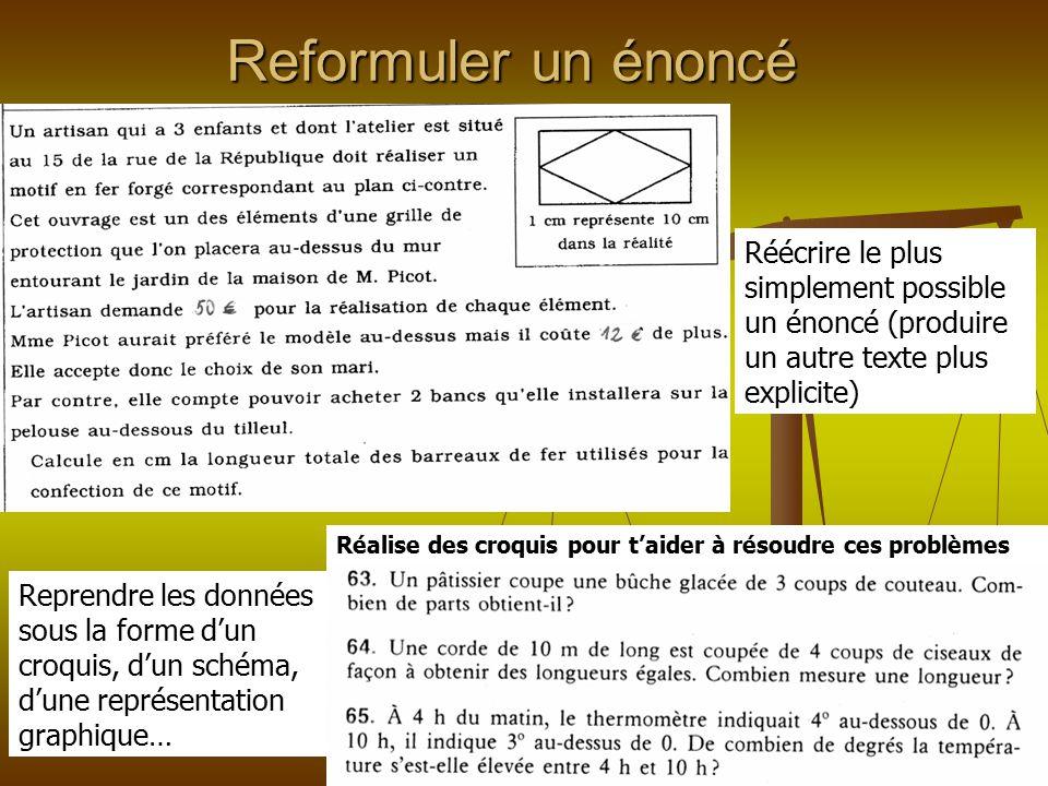 Reformuler un énoncé Réécrire le plus simplement possible un énoncé (produire un autre texte plus explicite)