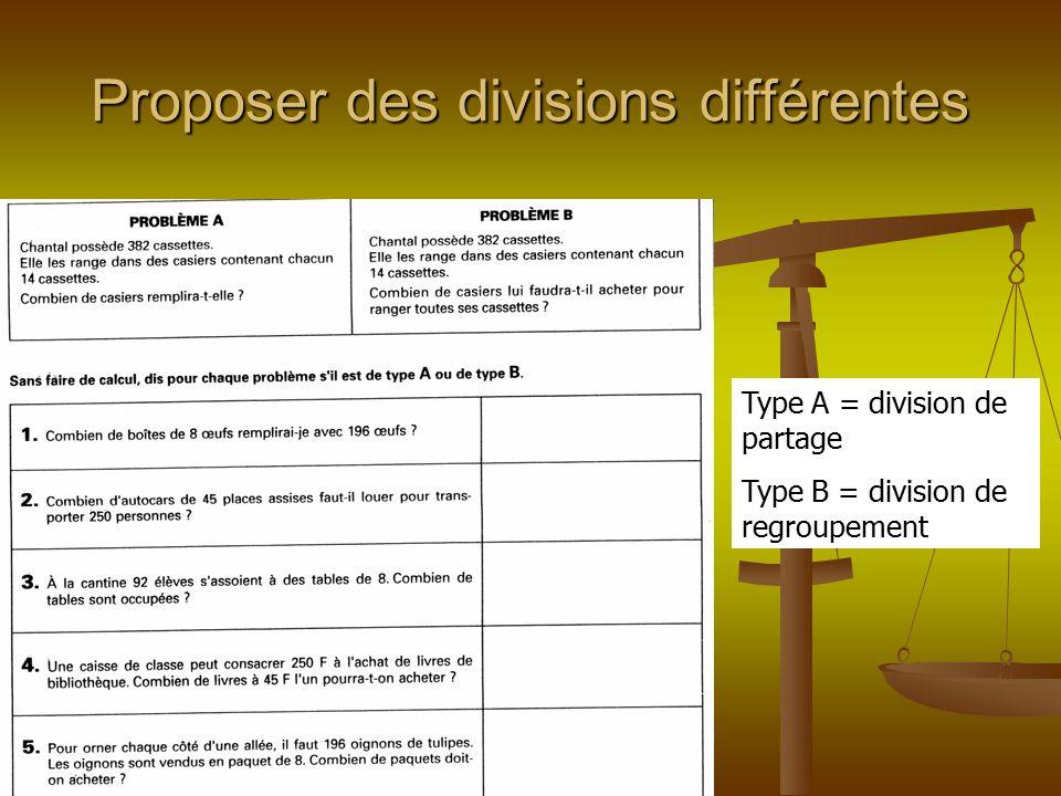 Proposer des divisions différentes