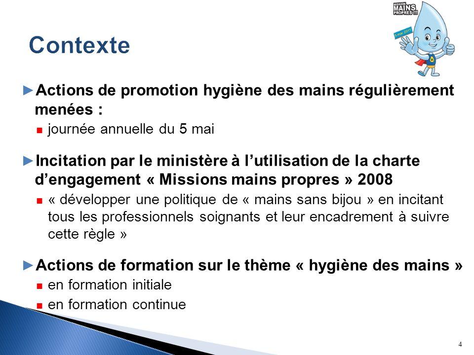 Contexte Actions de promotion hygiène des mains régulièrement menées :