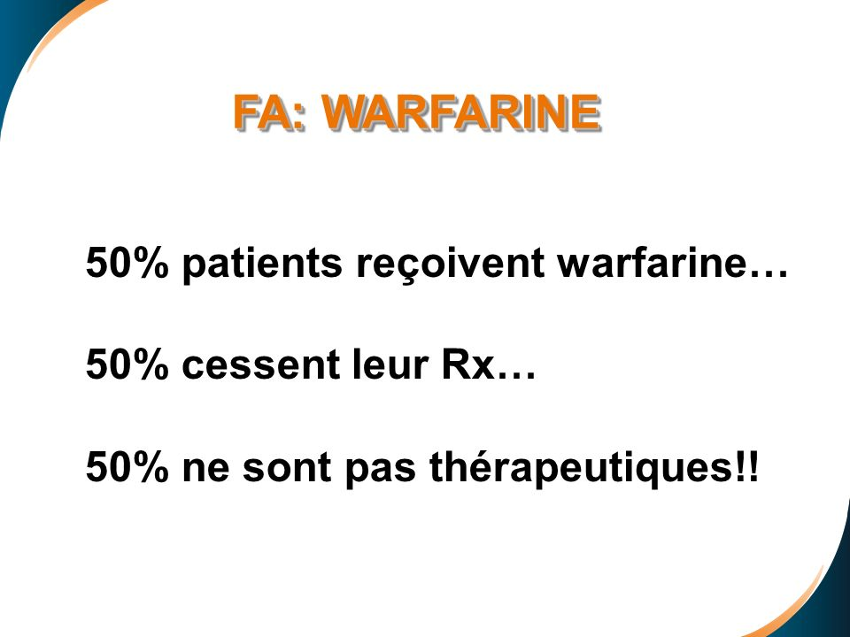 FA: WARFARINE 50% patients reçoivent warfarine… 50% cessent leur Rx…