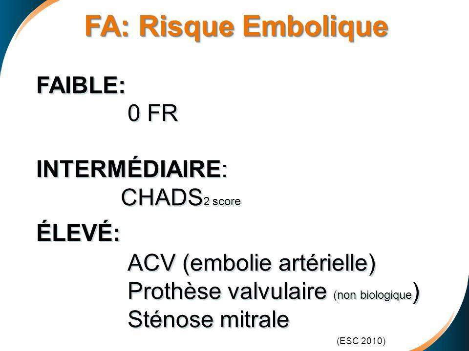 FA: Risque Embolique FAIBLE: 0 FR INTERMÉDIAIRE: CHADS2 score ÉLEVÉ: