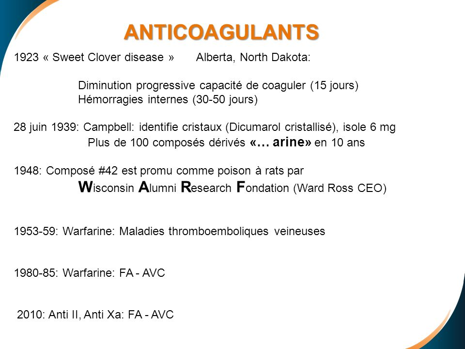 ANTICOAGULANTS 1923 « Sweet Clover disease » Alberta, North Dakota:
