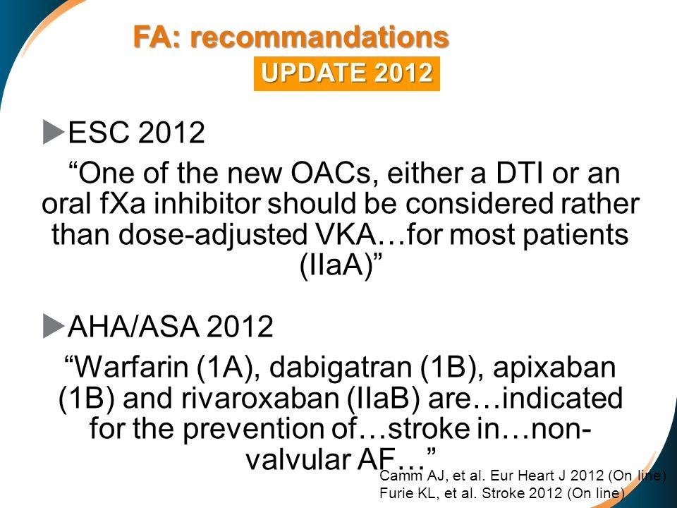 FA: recommandations ESC 2012