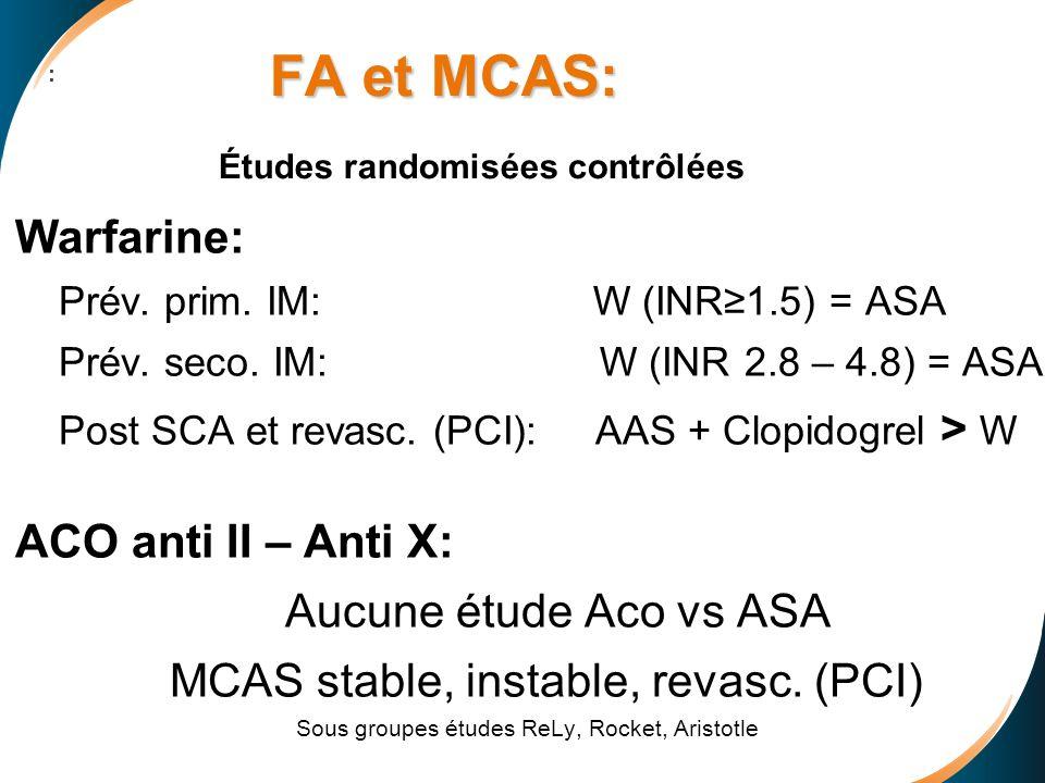 FA et MCAS: Études randomisées contrôlées
