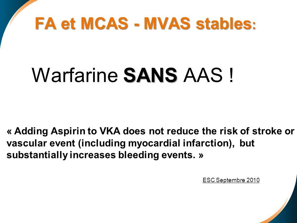 FA et MCAS - MVAS stables: