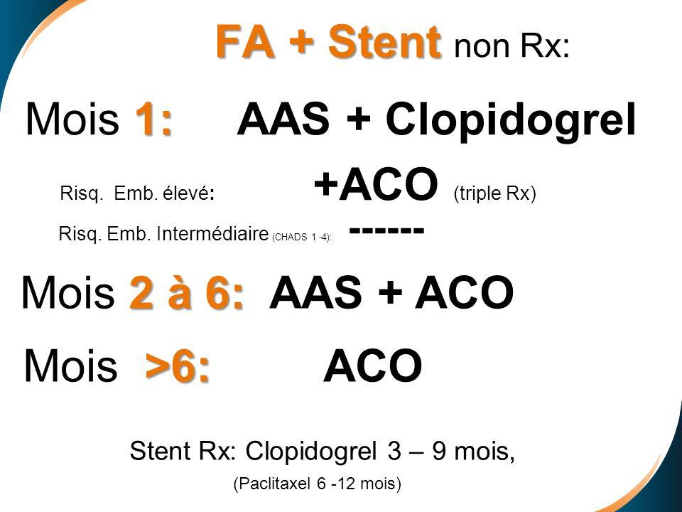 FA + Stent non Rx: Mois 1: AAS + Clopidogrel Risq. Emb