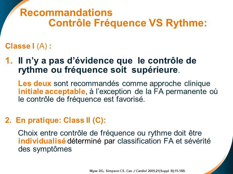 Recommandations Contrôle Fréquence VS Rythme: