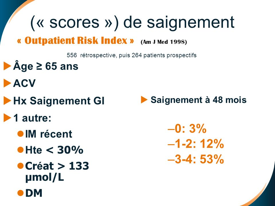 « Outpatient Risk Index » (Am J Med 1998)