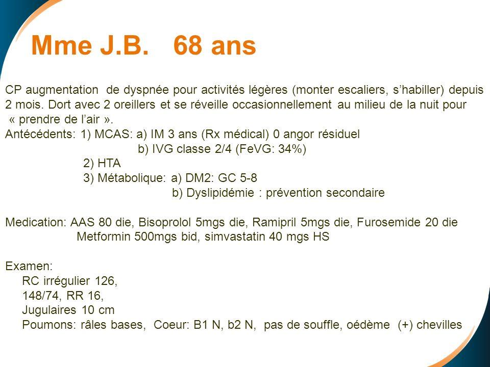 Mme J.B. 68 ans CP augmentation de dyspnée pour activités légères (monter escaliers, s'habiller) depuis.