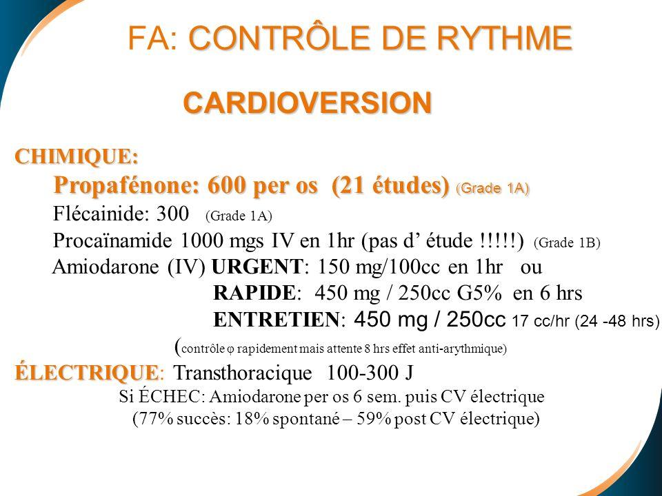 FA: CONTRÔLE DE RYTHME CARDIOVERSION CHIMIQUE: