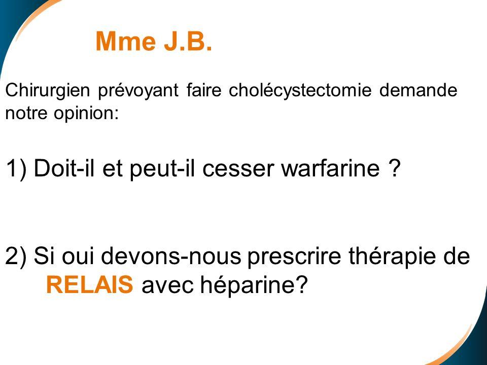 Mme J.B. 1) Doit-il et peut-il cesser warfarine