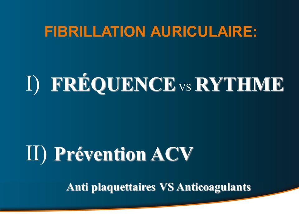 I) FRÉQUENCE VS RYTHME II) Prévention ACV FIBRILLATION AURICULAIRE: