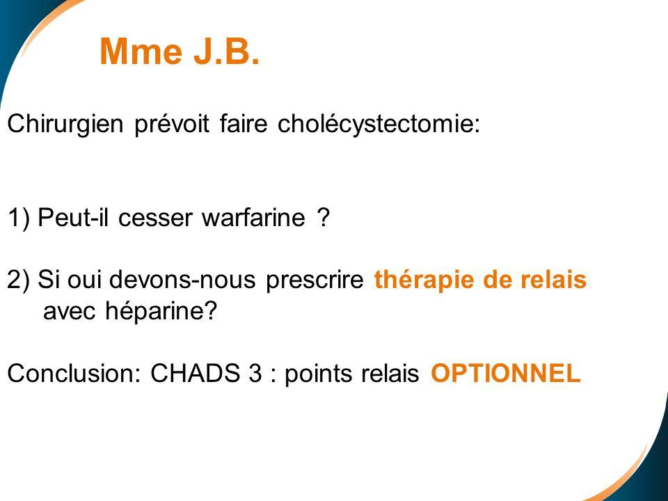 Mme J.B. Chirurgien prévoit faire cholécystectomie: