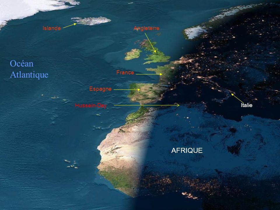 Océan Atlantique AFRIQUE Islande Angleterre France Espagne Hussein-Dey
