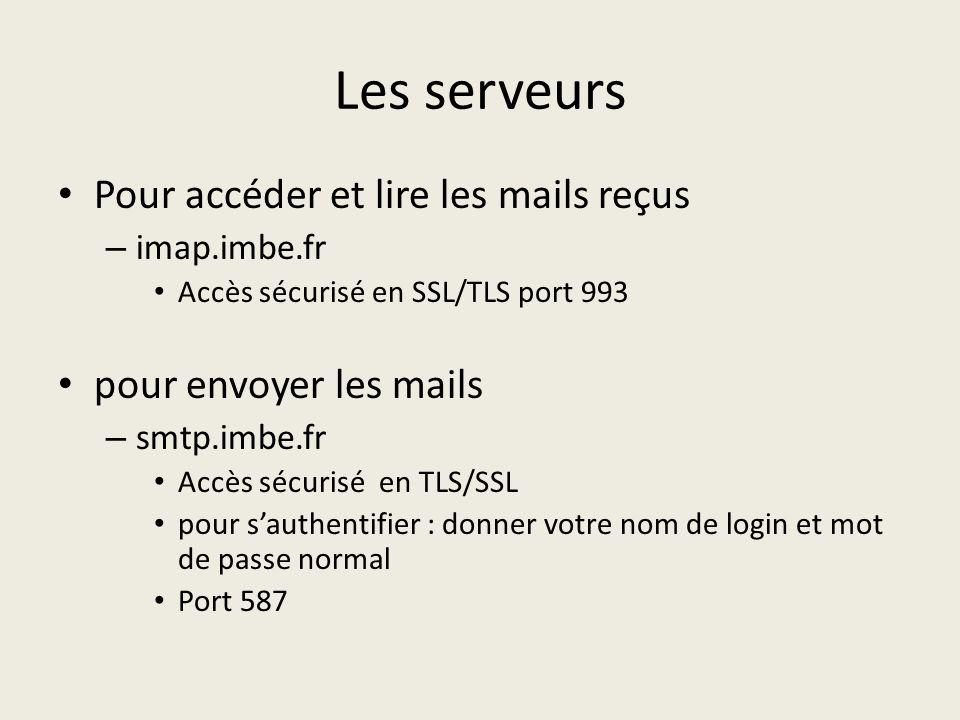 Les serveurs Pour accéder et lire les mails reçus