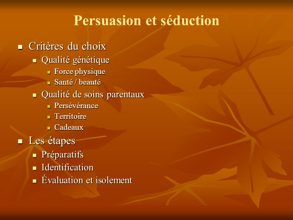 Persuasion et séduction