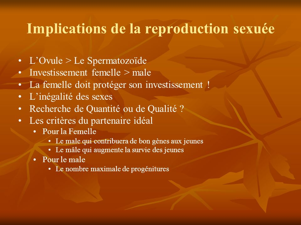 Implications de la reproduction sexuée