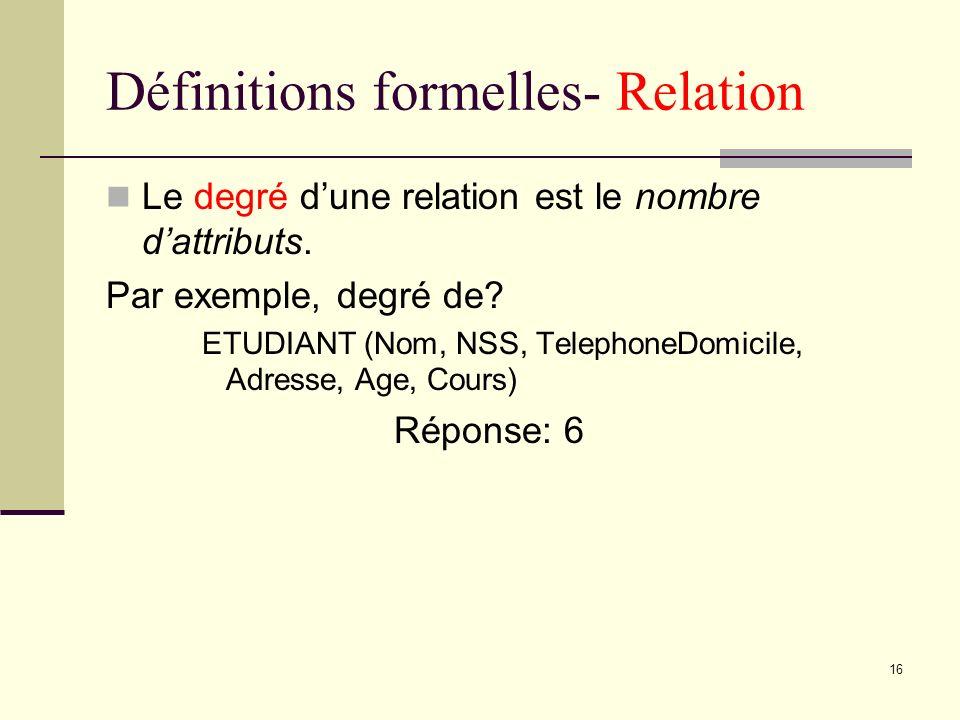 Définitions formelles- Relation
