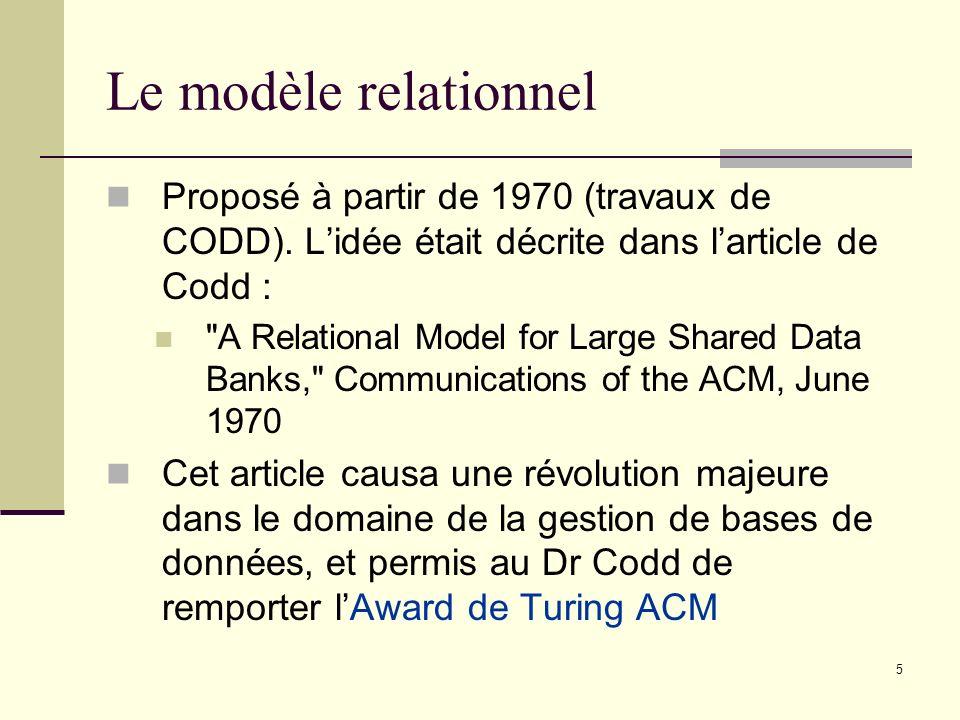 Le modèle relationnel Proposé à partir de 1970 (travaux de CODD). L'idée était décrite dans l'article de Codd :