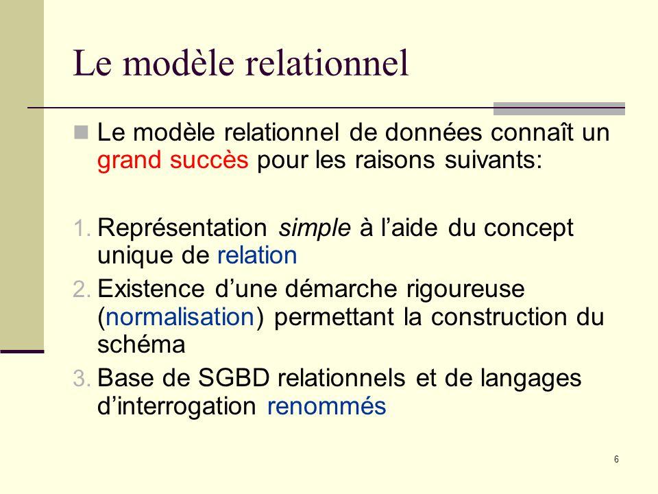 Le modèle relationnel Le modèle relationnel de données connaît un grand succès pour les raisons suivants: