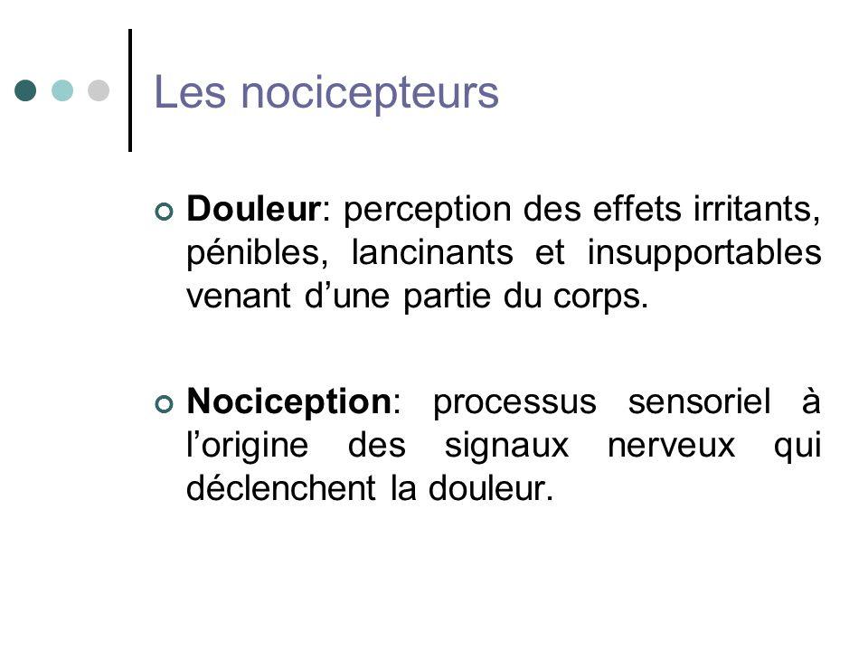 Les nocicepteurs Douleur: perception des effets irritants, pénibles, lancinants et insupportables venant d'une partie du corps.