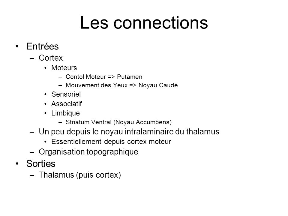 Les connections Entrées Sorties Cortex
