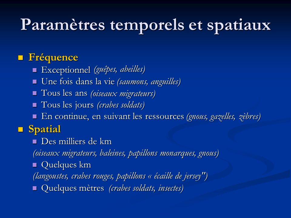 Paramètres temporels et spatiaux