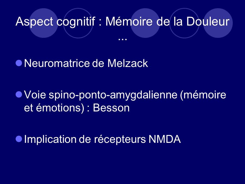 Aspect cognitif : Mémoire de la Douleur ...