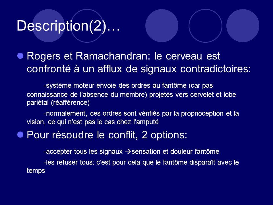 Description(2)… Rogers et Ramachandran: le cerveau est confronté à un afflux de signaux contradictoires: