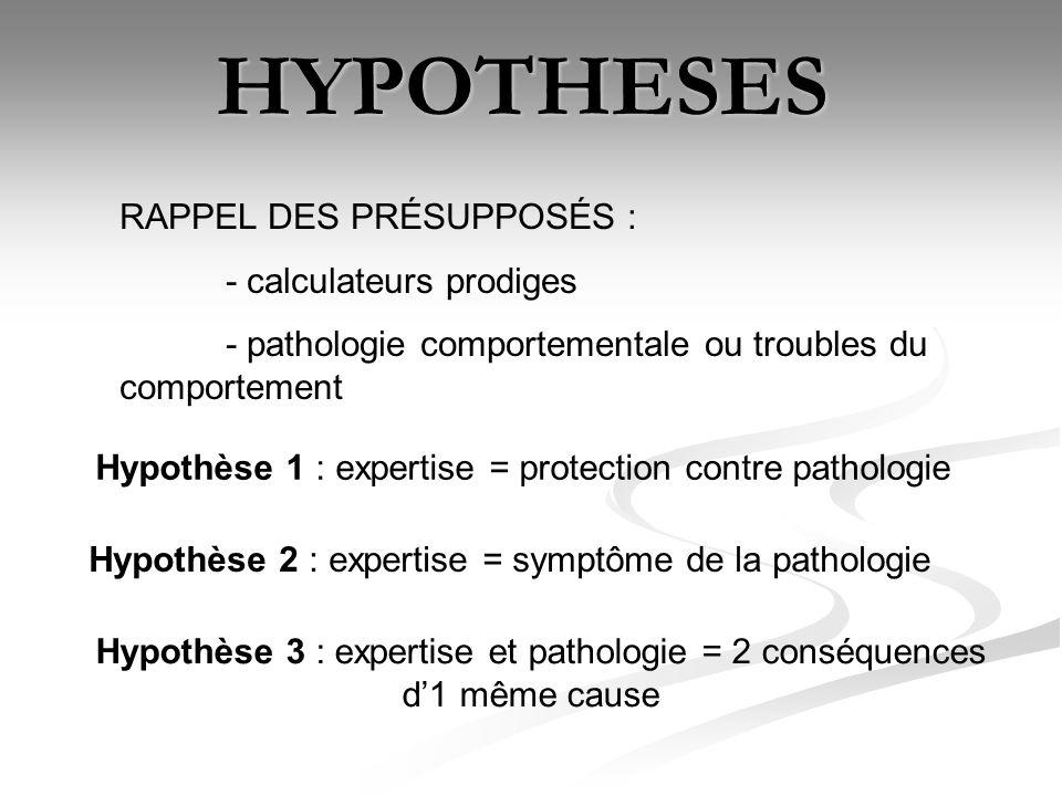HYPOTHESES RAPPEL DES PRÉSUPPOSÉS : - calculateurs prodiges