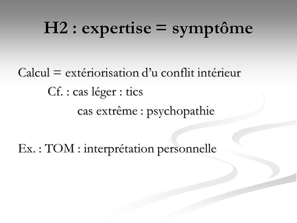 H2 : expertise = symptôme