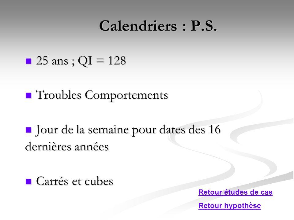 Calendriers : P.S. 25 ans ; QI = 128 Troubles Comportements
