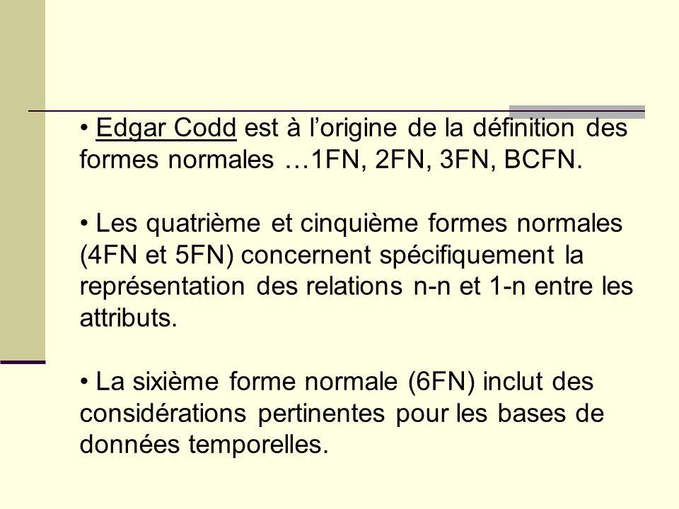 Edgar Codd est à l'origine de la définition des formes normales …1FN, 2FN, 3FN, BCFN.