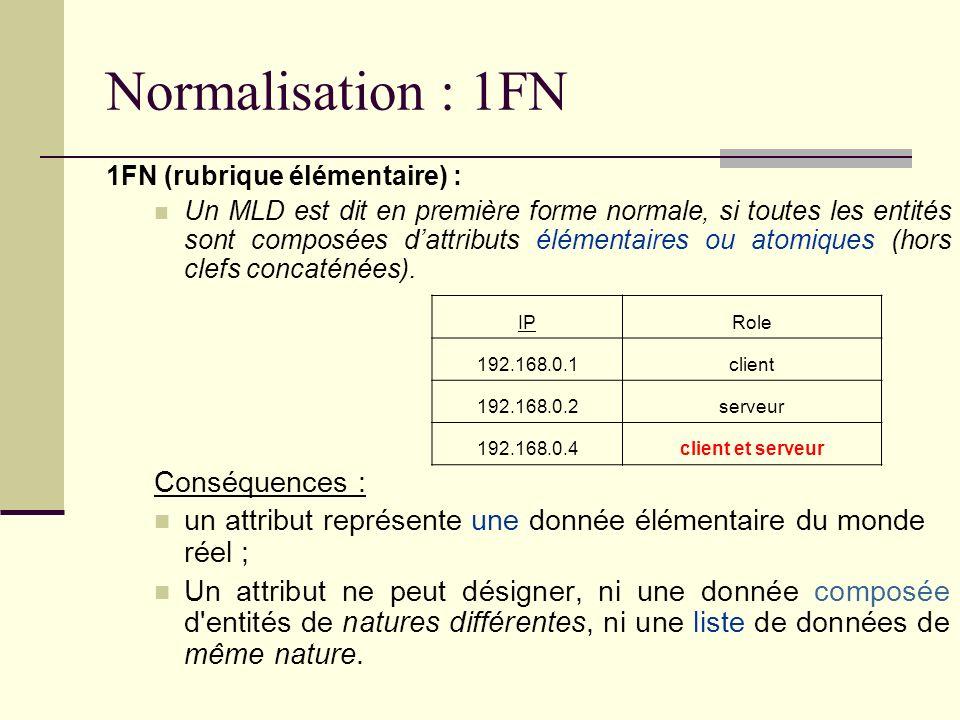 Normalisation : 1FN Conséquences :