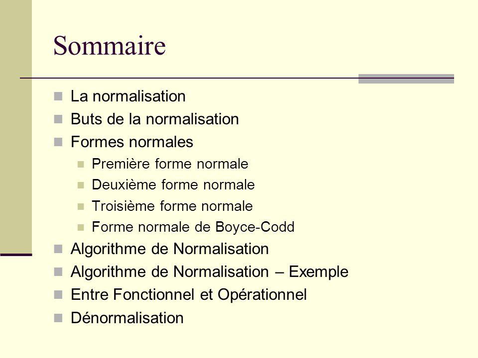 Sommaire La normalisation Buts de la normalisation Formes normales