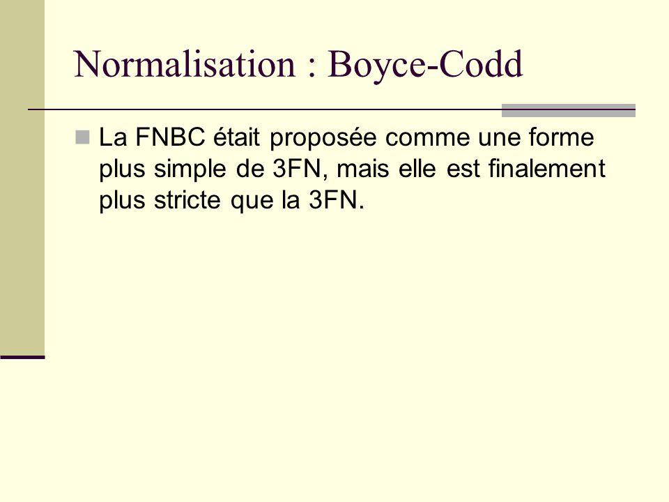 Normalisation : Boyce-Codd