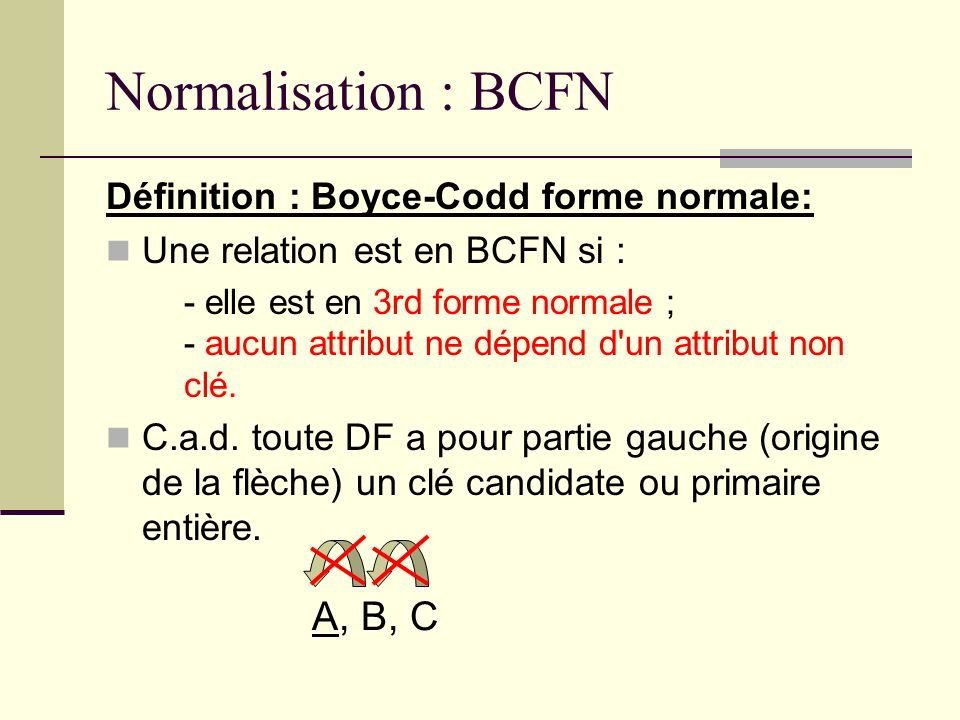 Normalisation : BCFN A, B, C Définition : Boyce-Codd forme normale:
