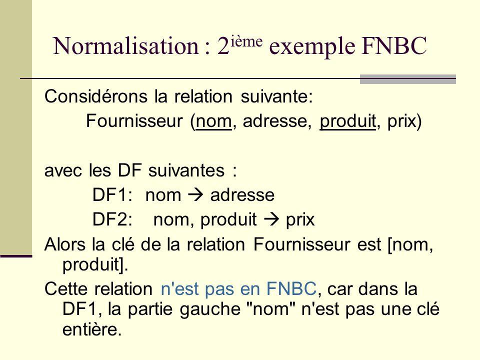Normalisation : 2ième exemple FNBC